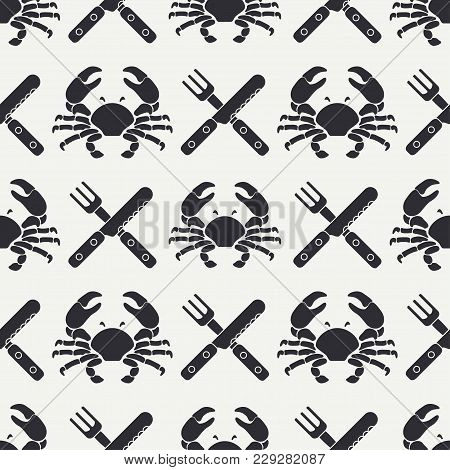 Flat Line Vector Seamless Pattern Ocean Crab, Cutlery, Fork, Knife. Simplified Retro Cartoon Style.