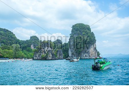 Krabi Thailand 3 Feb 2018: Longtail Boats Going To The Railay Island In Krabi Province Thailand. Phi