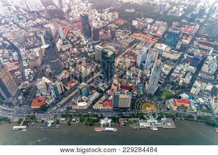 Ho Chi Minh, Vietnam - Jan 02,2018: Top View Aerial Photo From Flying Drone Of Center City, A Develo