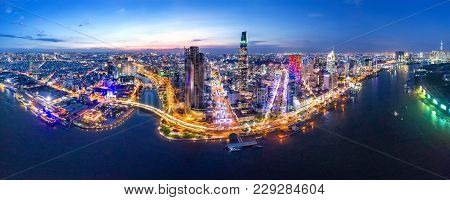 Ho Chi Minh, Vietnam-jan 01,2018: Top View Aerial Photo From Flying Drone Of Center City, A Develope