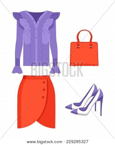 Summer Mode Jacket And Skirt Of Red Color, Bag And Shoes, Fashionable Elements For Women, Objects Se