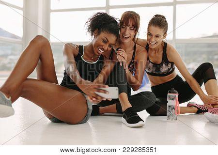 Group Of Sportive Women Making Selfie