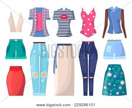 Clothing Collection Summer Mode, Poster With Shorts And Shirts, Pants With Holes And Tops, Jacket An