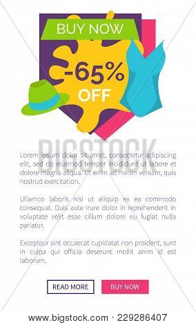 Buy Now 65 Off Promo Poster With Push Buttons Read More And Buy Now, Sleeveless Blouse And Women Hat