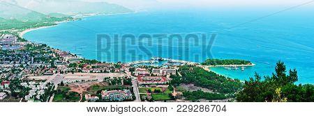 Panoramic View Of Kemer And Moonlight Beach In Antalya, Turkey. Blue Water Of Mediterranean Sea