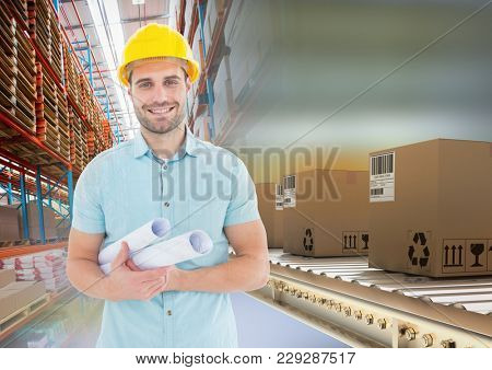 Digital composite of man with boxes on conveyor belt in warehouse, transition