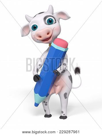 Cartoon Character Cow Holds Pencil In Hands Isolated, 3d Rendering