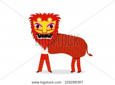 Lion Dance Isolated On White In Vector Cartoon Art
