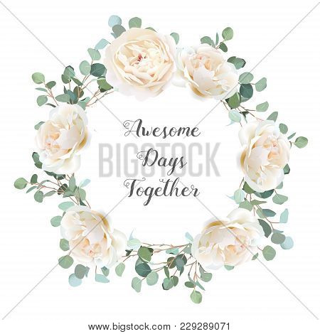 Creamy White Roses And Silver Dollar Eucalyptus Branches Vector Design Round Frame. Cute Rustic Wedd