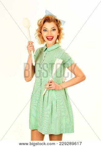Housekeeper With Kitchen Utensil, Household. Housekeeper Woman, Retro Style, Pinup