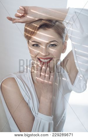 Woman With Smiling Face With Snow White Teeth
