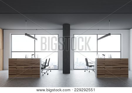 Gray And Wooden Office Cubicles