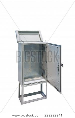 Model Of Metal Electric Control Box Isolated On White Background