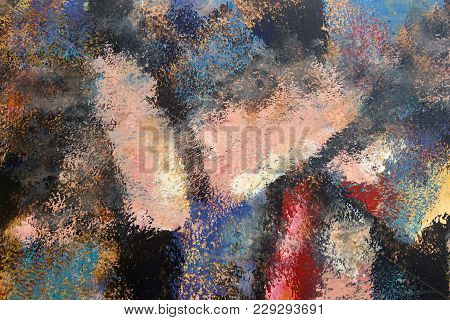 Abstract Art Background. Oil Painting On Canvas. Multicolored Bright Texture. Fragment Of Artwork. B