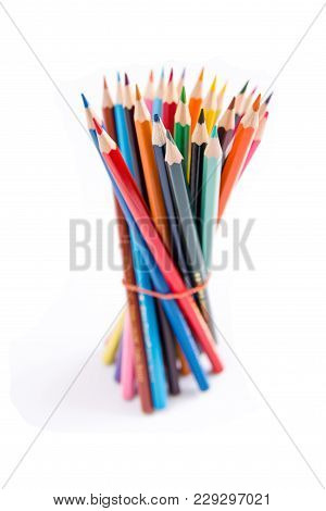 Pencils Colorful Set, Wooden Colored Pencils Isolated On White Background