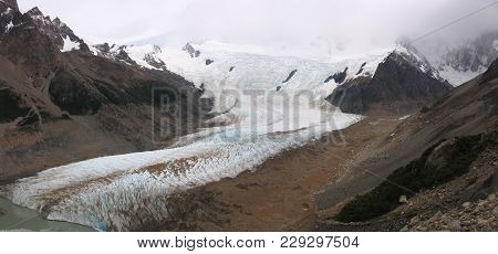 A Panoramic View Of Glacier Torre  From Mirador Maesti In Los Glaciers National Park In Patagonia. T