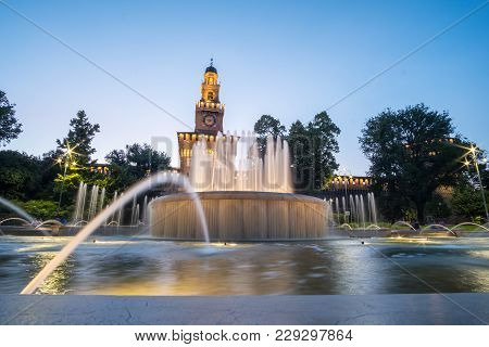 Night View Of Sforzesco Castle, In Milan, Northern Italy. It Was Built In The 15Th Century By France