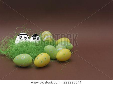 Angry Eggs Hidden In The Grass. Easter Funny Eggs, Commando Eggs, Revenge