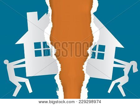 Division Of Property At Divorce. A Divorced Couple Ripping Paper With The Symbol Of The House. Vecto