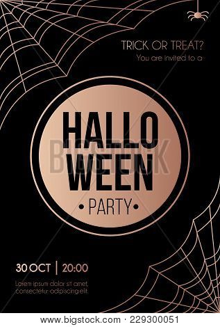 Halloween Party Invitation With Rose Gold Geometric Elements. Minimalistic Halloween Card. Vector Il