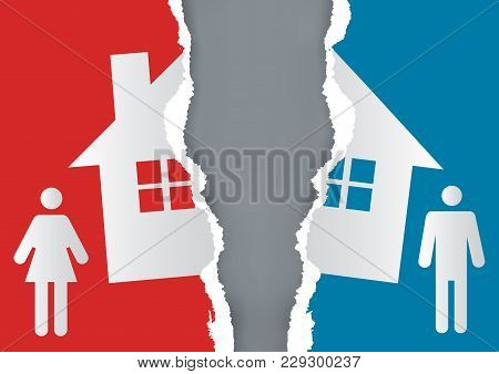 Division Of Property At Divorce. A Divorced Couple And Ripped Paper With The Symbol Of The House. Ve