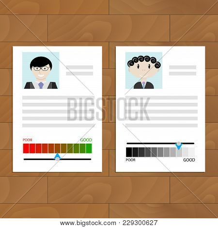 Credit History Document With Rating. Applicant For A Mortgage, Loan Or Loan. Vector Illustration