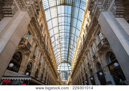Milan, Italy - 21 May 2017 : Interior Of Galleria Vittorio Emanuele Ii, One Of The World's Oldest Sh