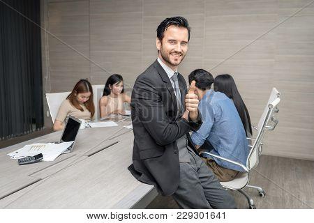 Businessmen Were Having Discussing About Their Work. Business Corporation Organization Teamwork Conc
