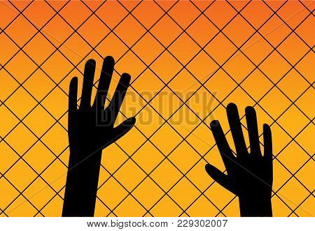 Immigrant Background In Silhouette Style, Vector Design