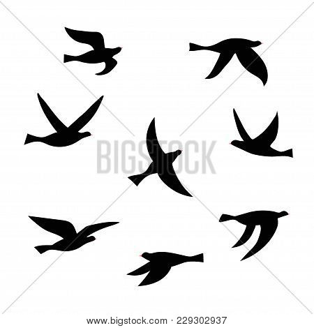 Vector Silhouette Of A Flock Of Birds. Set Of Black Isolated Flat Contours Of Flying Birds. Design E
