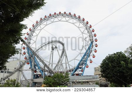 Tokyo, Japan - October 02, 2017: Attractions In Tokyo Dome City. The Tokyo Dome City Is A Amusement