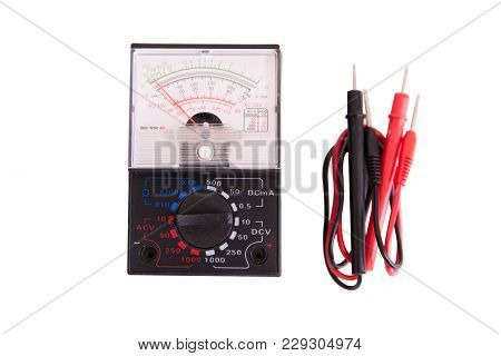 Analog Multimeter Isolated On White Background With Clipping Path