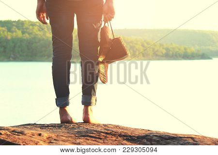 Young Woman Traveling Alone And Old Pair Shoes, Emotional Loneliness, Heartbroken ,concept Travel, C