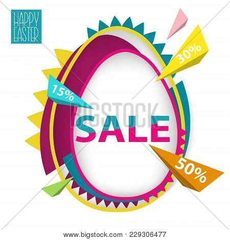 Easter Sale Background With Egg In Trendy Style. Stock Vector