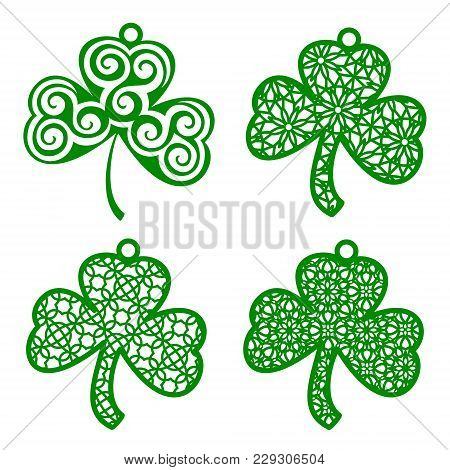 Set Of Vector Laser Cutting Element Ornamental Shamrock. Openwork Clover Leaf With A Lace Ornament.