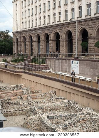 Sofia, Bulgaria-sept. 9: Ruins Of Ancient Serdicus Are Seen Behind Presidential Palace In Sofia, Bul
