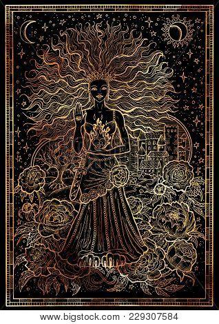 Zodiac Sign Lion Or Leo On Black Texture Background. Hand Drawn Fantasy Graphic Illustration In Fram