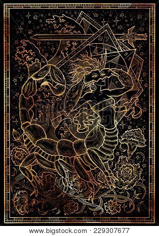 Zodiac Sign Scorpion On Black Texture Background. Hand Drawn Fantasy Graphic Illustration In Frame.