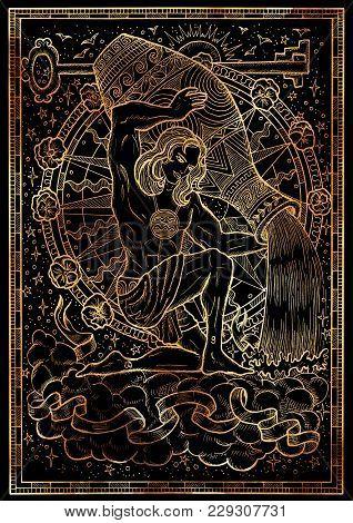 Zodiac Sign Aquarius On Black Texture Background. Hand Drawn Fantasy Graphic Illustration In Frame.