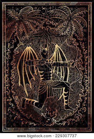 Zodiac Sign Archer Or Sagittarius On Black Texture Background. Hand Drawn Fantasy Graphic Illustrati