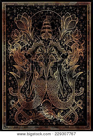Zodiac Sign Fish Or Pisces On Black Texture Background. Hand Drawn Fantasy Graphic Illustration In F