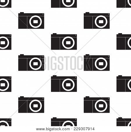 Camera Icon Vector Illustration. Flat Sign Seamless On White Background.