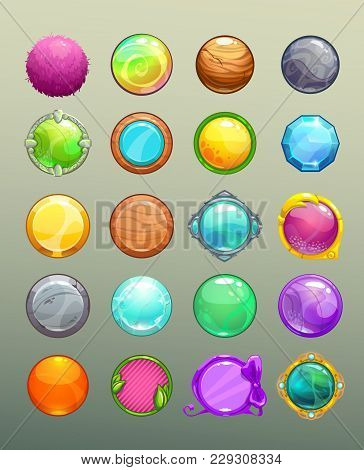 Big Set Of Cartoon Round Colorful Buttons. Collection Of The Assets For Game Or Web Design.
