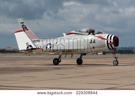 Miramar, California, Usa - Oct 15, 2016: North American Fj-4b Fury Warbird Taxiing After Flying At T