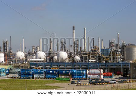 Rotterdam, Netherlands - Sep 7, 2012: Petrochemical Industrial Plant In The Port Of Rotterdam