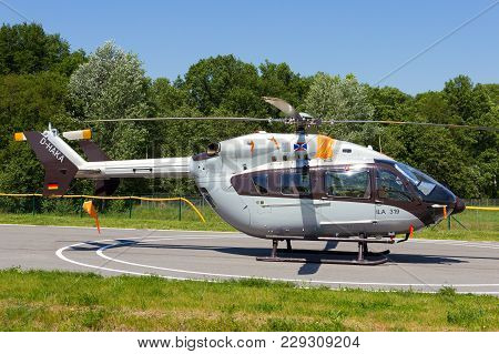 Berlin, Germany - May 21, 2014: Eurocopter Ec145 At The International Aerospace Exhibition Ila In Be