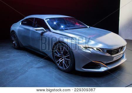 Geneva, Switzerland - March 4, 2015: Peugeot Exalt Concept Car At The 85th International Geneva Moto