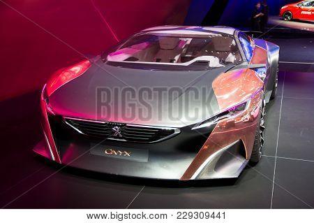 Geneva, Switzerland - March 3, 2015: Peugeot Onyx Car At The 85th International Geneva Motor Show In