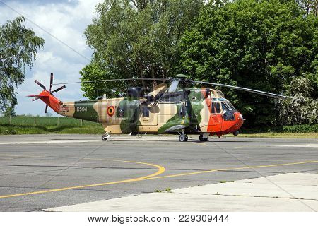 Beauvechain, Belgium - May 20, 2015: Belgian Navy Sea King Rescue Helicopter On The Tarmac Of Beauve