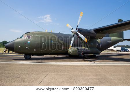 Norvenich, Germany - June 12, 2015: German Air Force C-160 Transall Cargo Plane On The Tarmac Of Nor